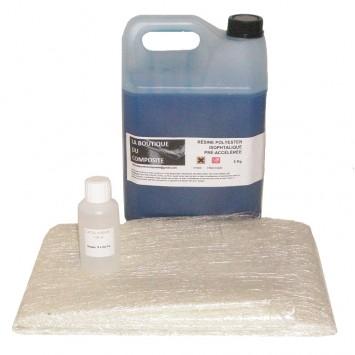 5kg de résine polyester + cata. + 6,5m² de mat
