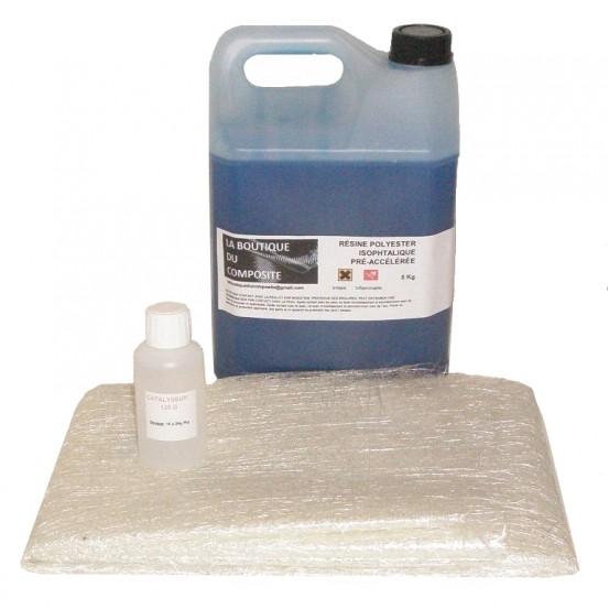 5kg de résine polyester + cata. + 6,5m2 de mat