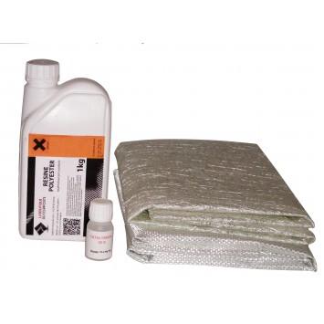 1kg de résine polyester + cata. + 1m² de mat + 1m² de roving.