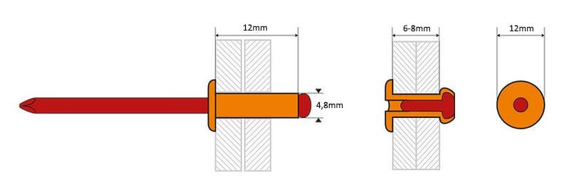 Dimensions-rivets